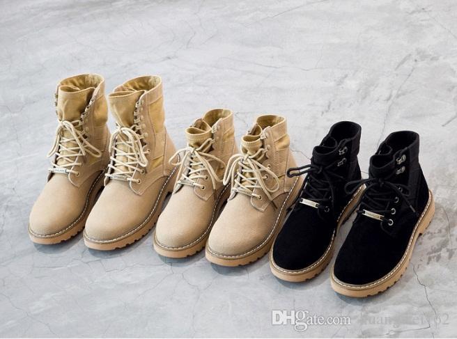 Mode Womens High und Low Top Winter schnüren Stiefel aus echtem Leder Stiefel Mädchen Martin Stiefel Chunky Heel Outdoors Schuhe