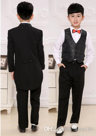 Children tuxedo boy suit clothing flower child's clothing suits performance costume birthday party suits jacket+pants+vest Custom made