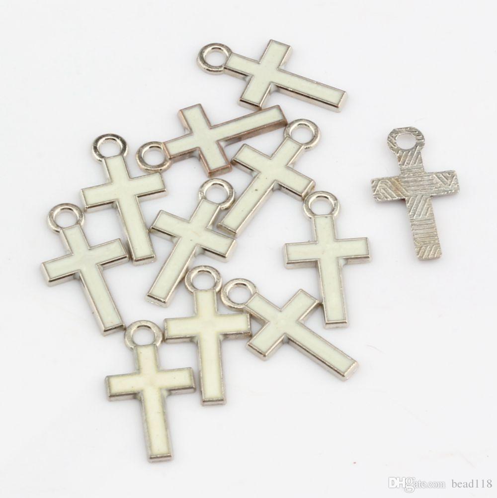 Heta! 500 st Mix Color Stilfulla Pretty Small Enamel Cross Alloy Charms 8mm * 15mm DIY Smycken