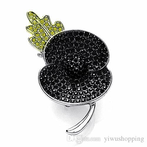 Fashion Rhodium Silver Plated Black Crystal Rhinestone Leaf Flower Poppy Brooches and Pins Remembrance Day Gift