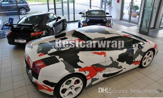 Blanco rojo gris negro ártico Camo Vinyl Car Wrap Film con aire Rlease Gloss / Matt Snow Pixel CamuflajeCarco adhesivo 1.52x30m / Roll 5x100ft