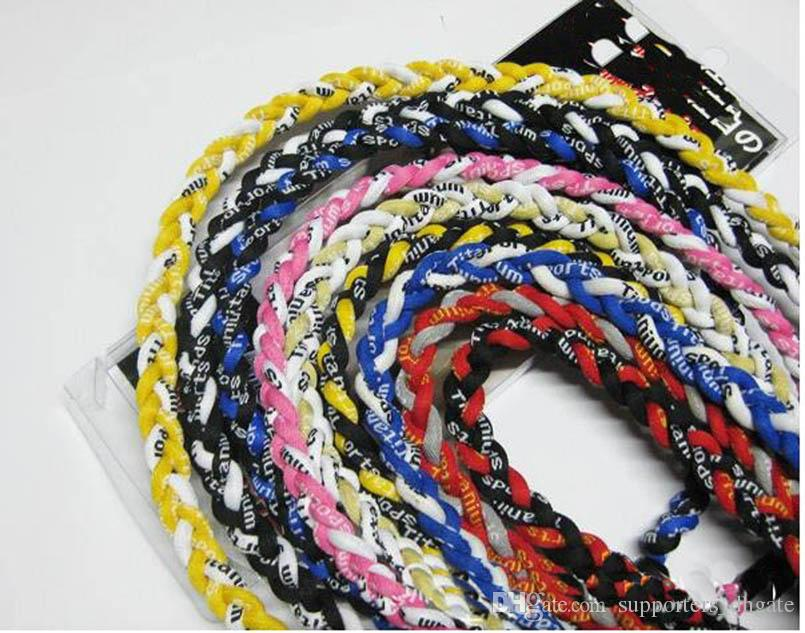 Wholesale -titanium braided 3 ropes3 Weave necklace Necklaces tornado SPORTSbaseball new tornado pendant healthy Fashion body jewelry