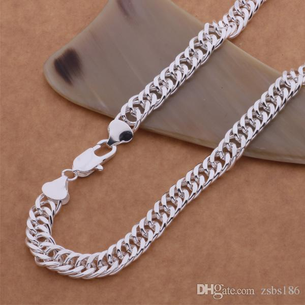 Fashion Men's Jewelry 925 sterling silver plated chain necklace 10MMX20inches Top quality factory price