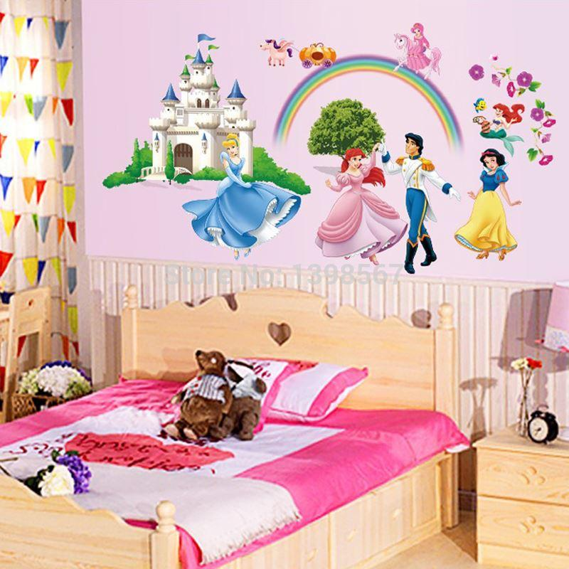 Cartoon Snow White Cinderella And Prince Little Mermaid Fairy Tale Diy Wall  Sticker Mural Decal Decorative Jia194 Wall Quotes Stickers Wall Removable  Decals ... Part 98