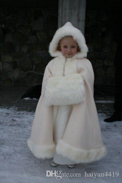 2017 Hot Cheap Hooded Flowers Girls Cape Custom Christmas For Wedding Cloaks White Ivory Faux Fur Winter Wedding Jacket Wraps Long With Muff