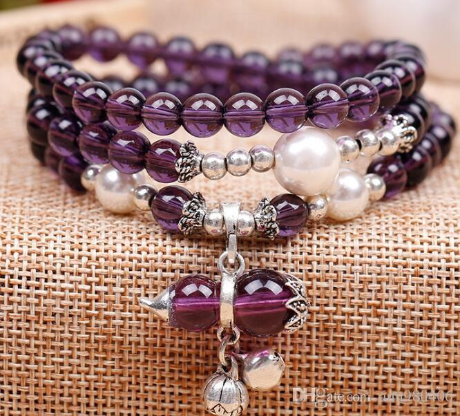 """""""2018 Fashion New Purple crystal multi-layer beads bracelet style women's national wind hidden silver bell crystal calabash pendant string f"""