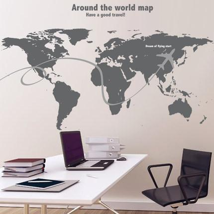 Hot travel around the world wall stickers world map decal large area see larger image gumiabroncs Image collections