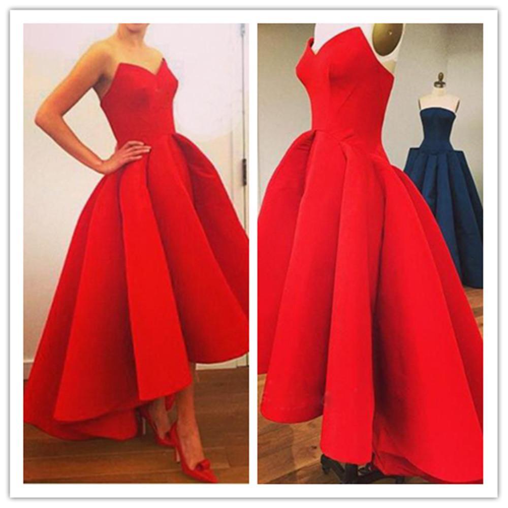 Long Red Ball Gown Evening Dress Short 2016 Sweetheart Satin Formal ...