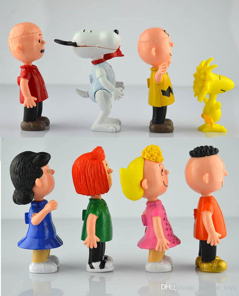 Wholesale Peanuts Comics Charlie Brown And Snoopy Figures Toys 8 Styles Snoopy Action Figures Dolls Anime Figure Toys