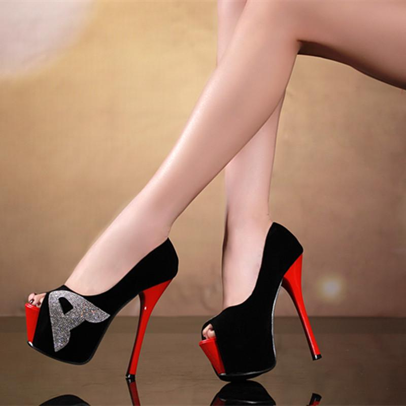 6.3in Heels Sexy Shoes Stiletto Peep Toes Party Shoes High Heels ...