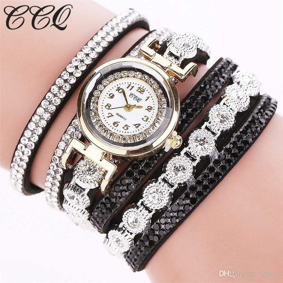 Gold Luxury Women Leather Bracelet Watch Casual Ladies Small Dial Long Straps Diamond Shambhala Colorful Rivets Watches