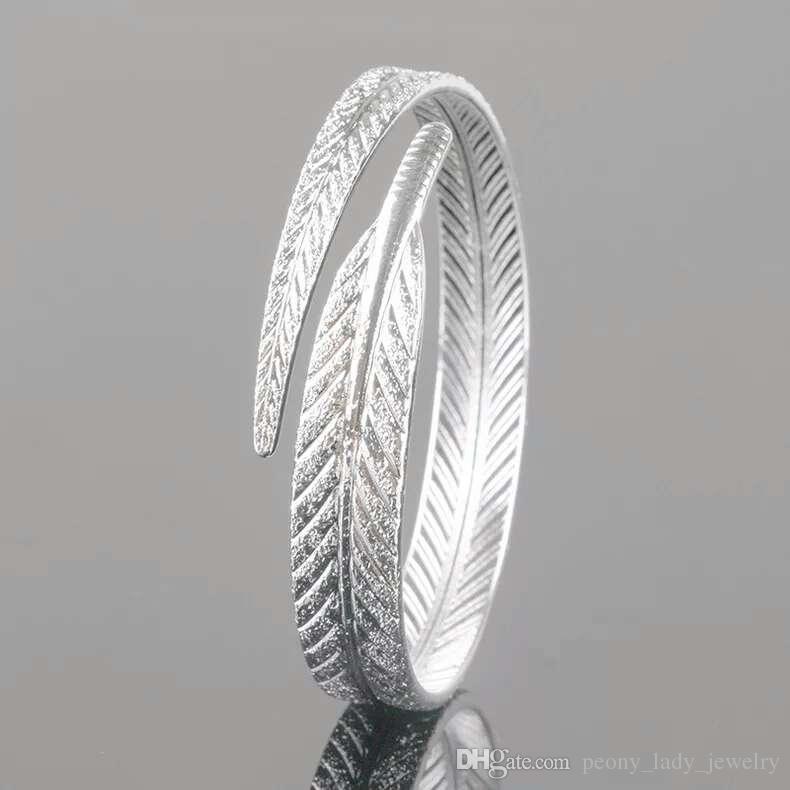 925 joyería de plata esterlina artículos encanto pulseras joyería tallada hoja en forma de brazalete de la boda encantos de la vendimia nueva llegada
