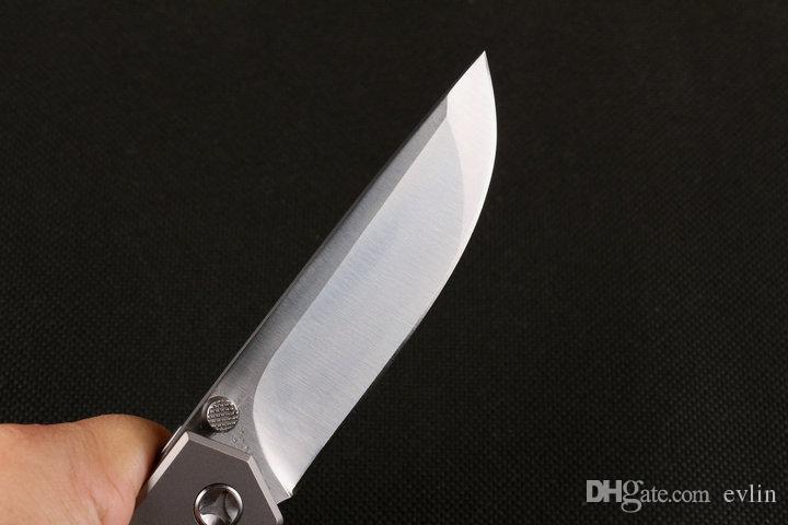 Nouvelle arrivée couteau pliant de survie de la lame D2 satin lame fini et poignée de titane couteaux frais avec cadeau