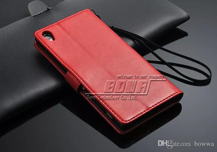 20 stücke Brieftasche Handytasche Für Sony Xperia Z3 Vintage PU Ledertasche Mit Standplatz 3 Kartenhalter und Fotorahmen