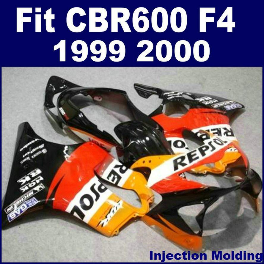 100 ٪ حقن صب لهوندا عالية الجودة هدية CBR 600 F4 1999 2000 أحمر أسود 99 00 cbr 600 f4 هدية جزء T6NH