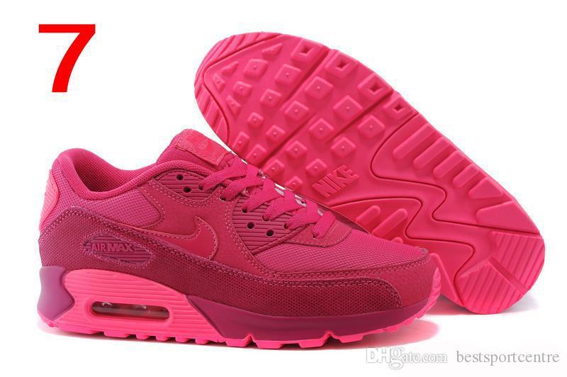 Compre Nike Air Max 90 Zapatos Corrientes De Las Mujeres Floral Barato Caliente Max 90 Zapatillas Deportivas De Color Rosa Con Descuento, Marca De Las
