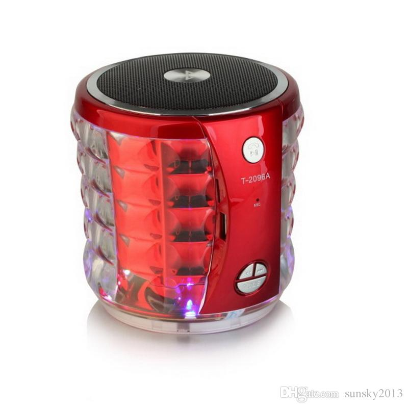 T-2096A Bluetooth Portable Speakers with Crystal LED Flash Light USB TF MP3 Music Player Stereo Hifi Mini Sound Box Handsfree for Car Call