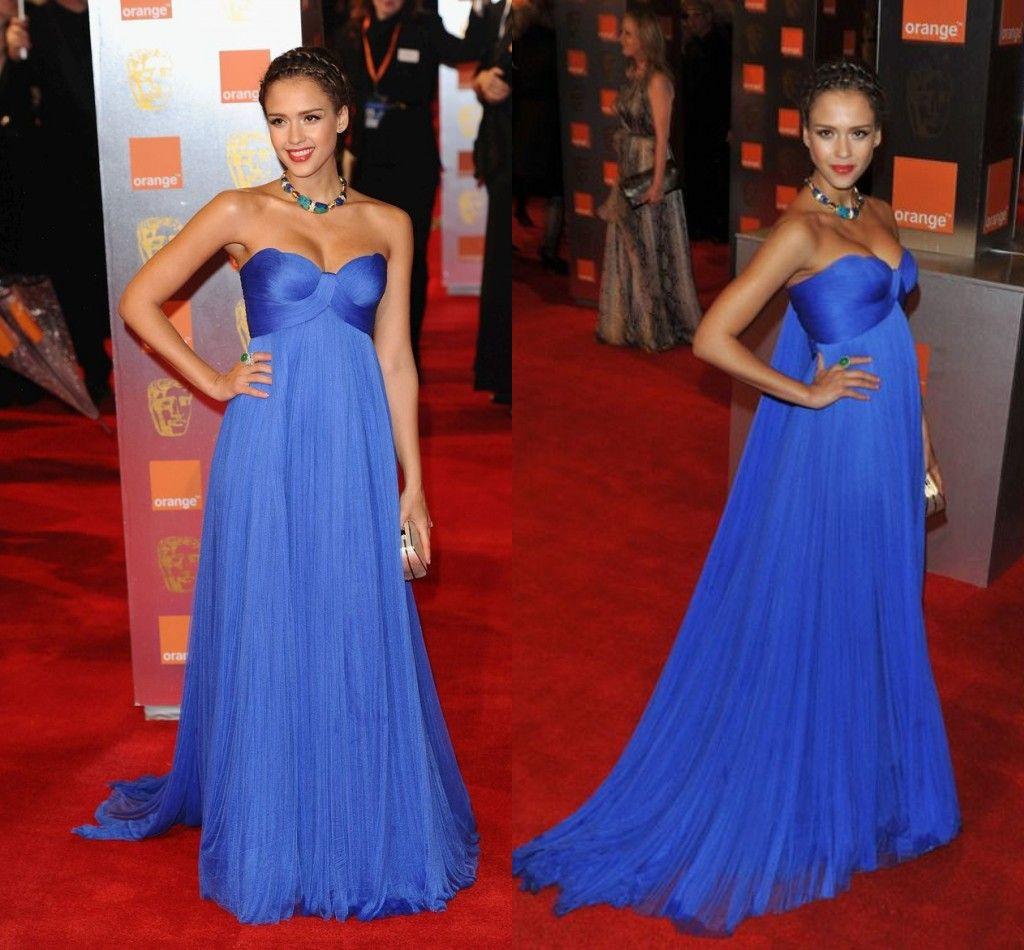 Red Carpet Dresses Evening Dress Royal Blue pagent Gowns Vestidos de festa Sweetheart A Line Chiffon Long Prom Gowns