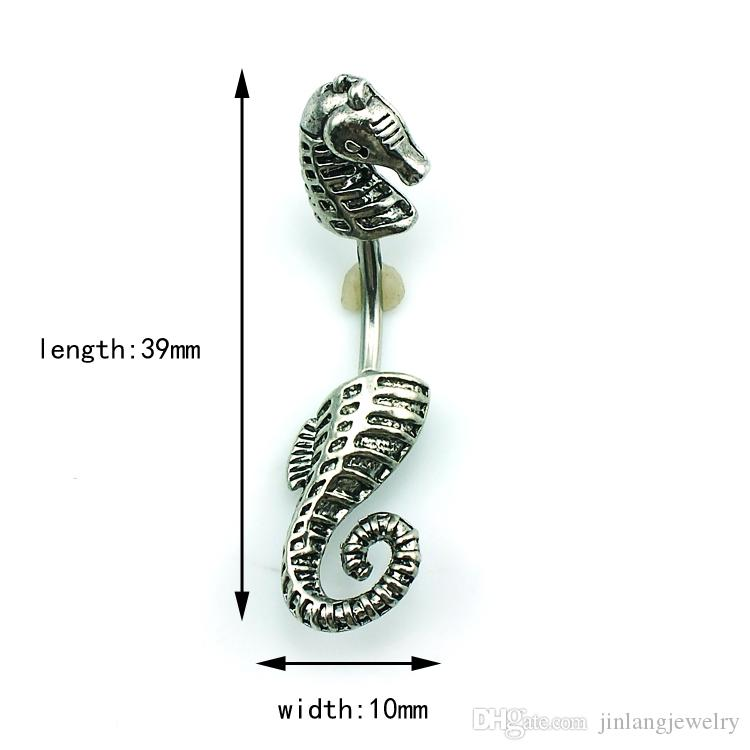 Popular Style! New Design Wholesale Price Fashion Black Silver Metal Sea Horse Navel Piecing Rings For Women Body Jewelry