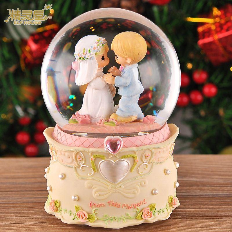 Creative Wedding Anniversary Birthday Gift Crystal Ball Music Box To Send His Girlfriend Wife Lover Married Girls Round Mirror For Sale