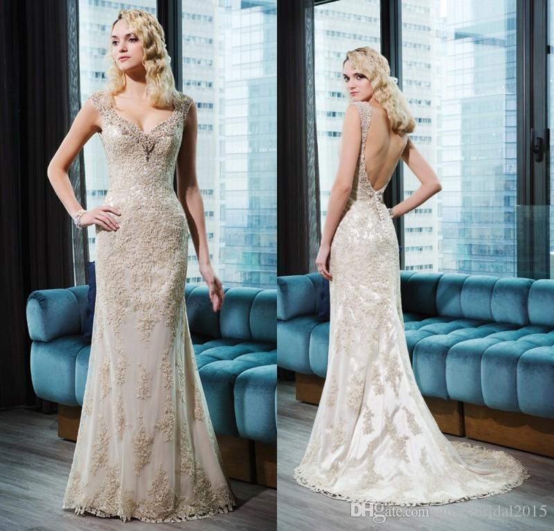 Discount Justin Alexander 2016 Champagne Lace Wedding Dresses Beads ...