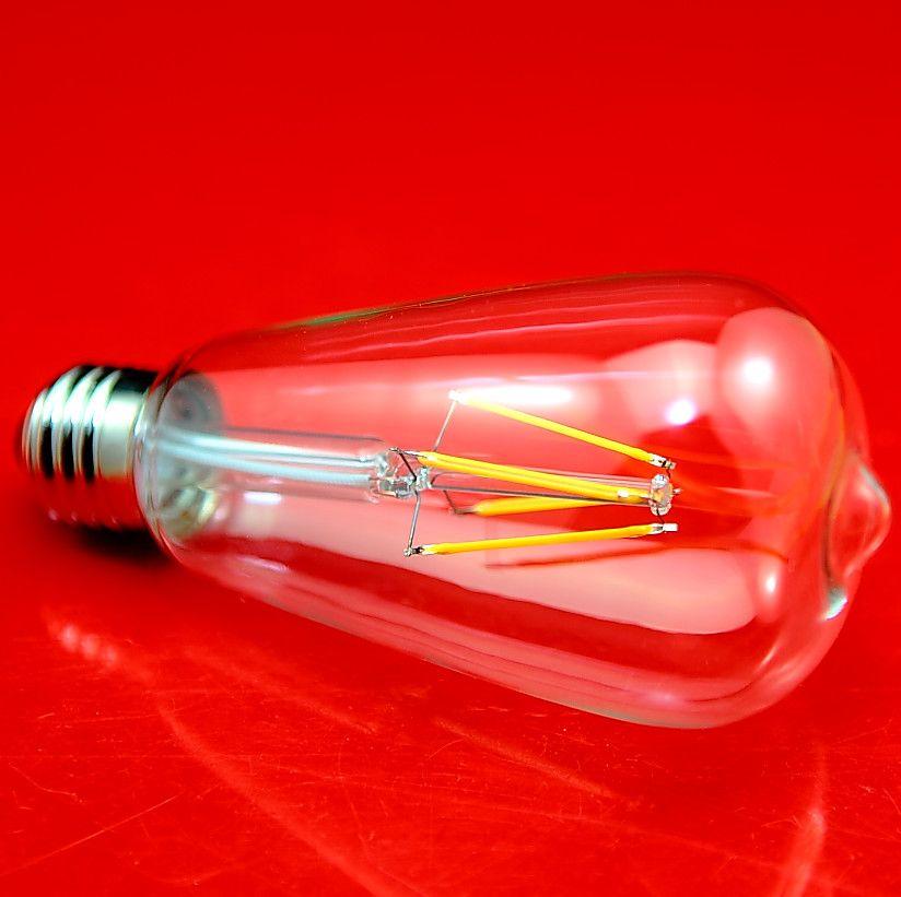 Dhl شحن 2 واط 4 واط ST64 عكس الضوء ac 110 فولت -220 فولت أدى اديسون خيوط لمبة ضوء مصباح شخصية خيوط مصابيح e27 أضواء led الشعيرة