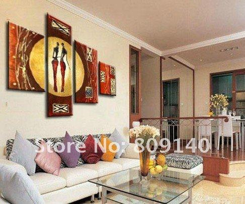 Stretched Abstract African Woman Figure Oil Painting Canvas Yellow Red  Artwork Handmade Modern Home Office Hotel Wall Art Decoration Gift  Stretched African ...