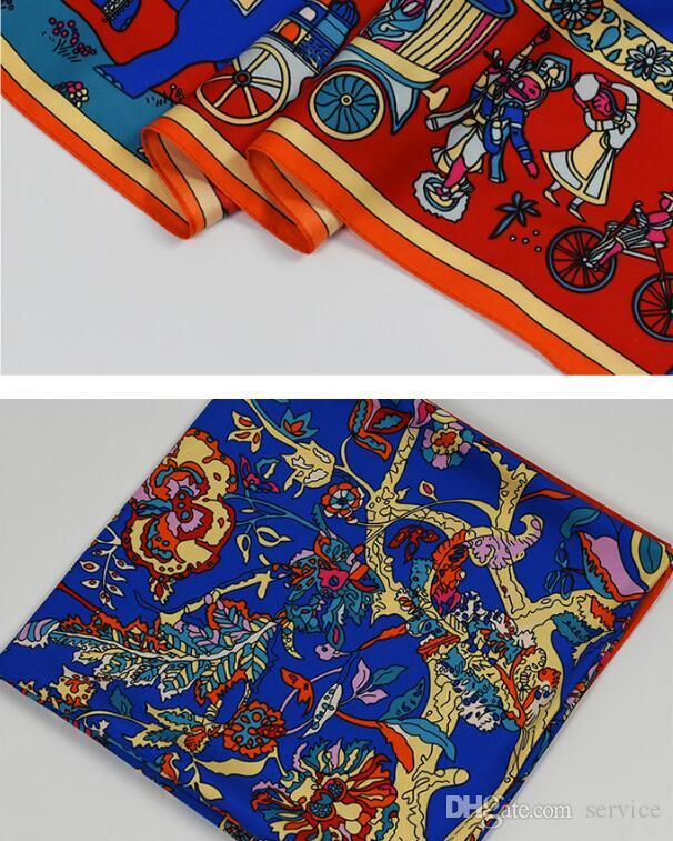 130cm*130cm 100% Pure Silk Euro Brand Style Women Bohemia National Wind Tree and Elephant Silk Square Scarf Femal Fashion Shawls
