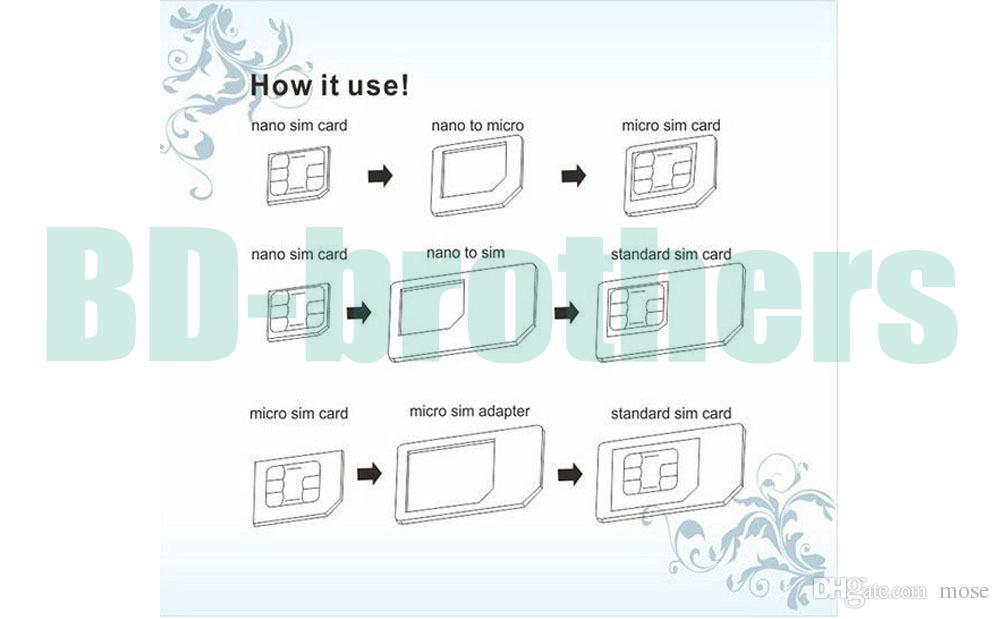 Adaptateur de carte SIM micro nano 4 en 1 noir avec clé à éjection pour iPhone 4G 5 5S 5C Samsung 6G 6plus /