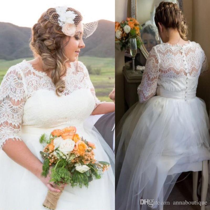Discount Vintage Short Lace A Line Wedding Dresses Jewel Neck Plus ...