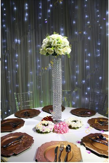 crystal&metal wedding centerpiece with flower stand111