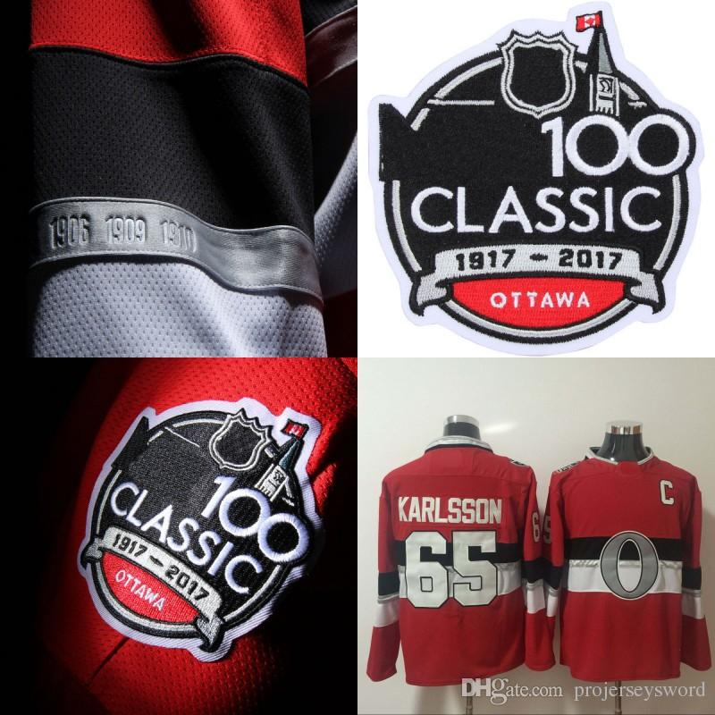 2019  65 Erik Karlsson 2018 Centennial Classic Jersey Ottawa Senators 100  Anniversary Patch Blank 100% Stitched Ice Hockey Jerseys From  Projerseysword 63d1836f9