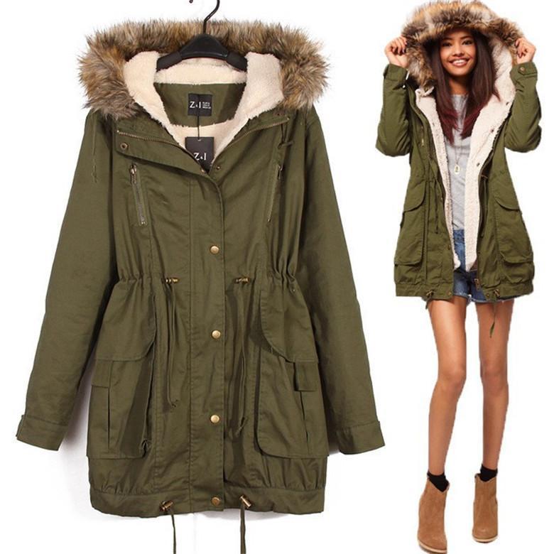 Wholesale Women Thicken Fleece Warm Winter Coat Zip Hooded Parka ...
