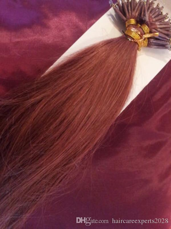 "DHL 100% Indian human queen hair products 5A 14""- 24"" 1g/s 100sstick tip nano ring hair extensions 33#dark auburn"