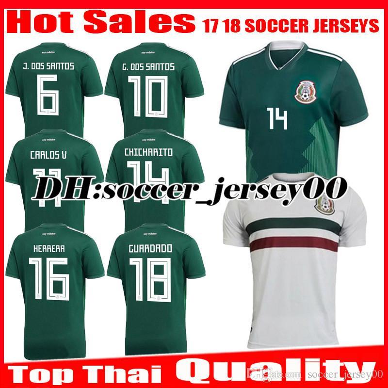 2018 2019 Mexico Camiseta De Fútbol Copa Del Mundo Casa Verde CHICHARITO  M.LAYUN R.JIMENEZ Carlos Vela G.DOS SANTOS A GUARDADO Camiseta De Fútbol  Uniforme ... 31a706fd65694