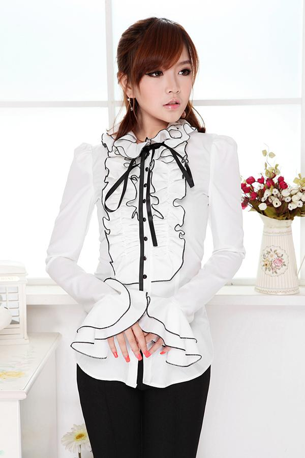 Very 2018 Puff Sleeves Blouses Ribbons Bow Satin Blouse Woman White  QX35
