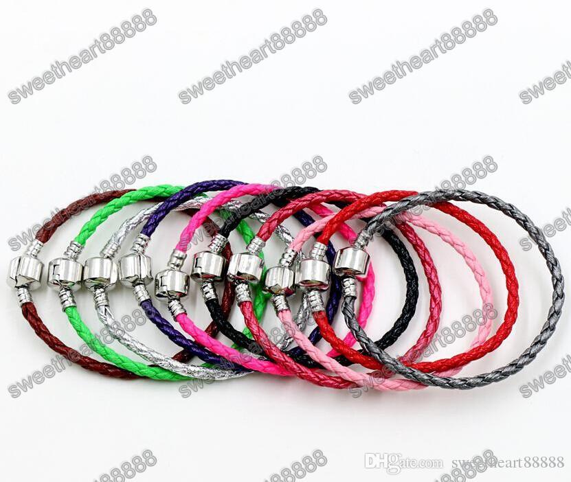Chaînes de bracelets en cuir fermoir argent 925 simples pour bracelets Pandora 17cm 19cm 21cm / 57 couleurs Bracelet Fit European Charm Perles
