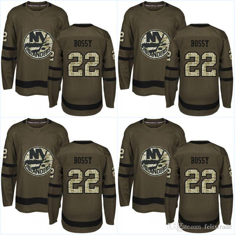 low cost 2733b 944c0 Camouflage New Logo New York Islanders Jersey 22 Mike Bossy 53 Casey  Cizikas 12 Josh Bailey 1 Thomas Greiss Army Green Hockey Jerseys