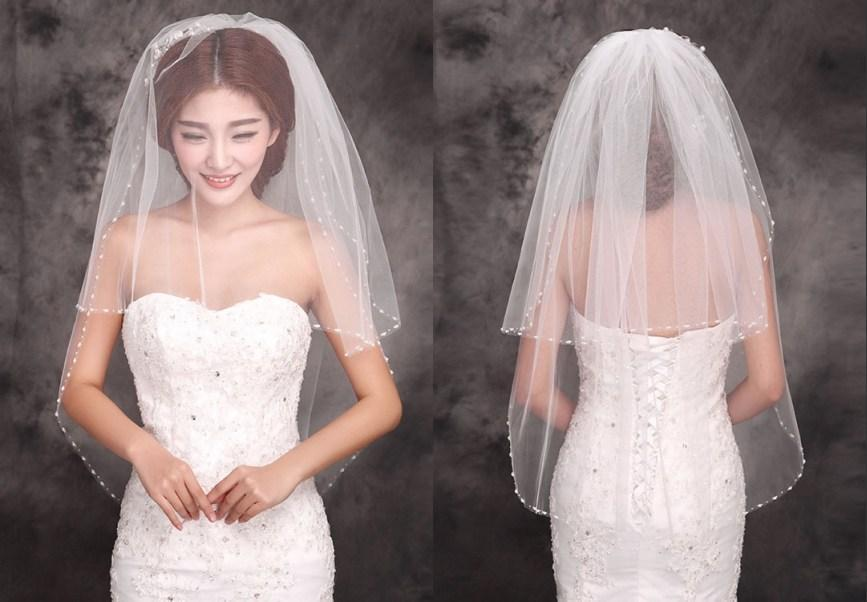 2015 New Stayle Cheap Ivory Bridal Veils Two Layers Beads Edge Tulle Short Veil Wedding High Quality Beauty Simple Shower