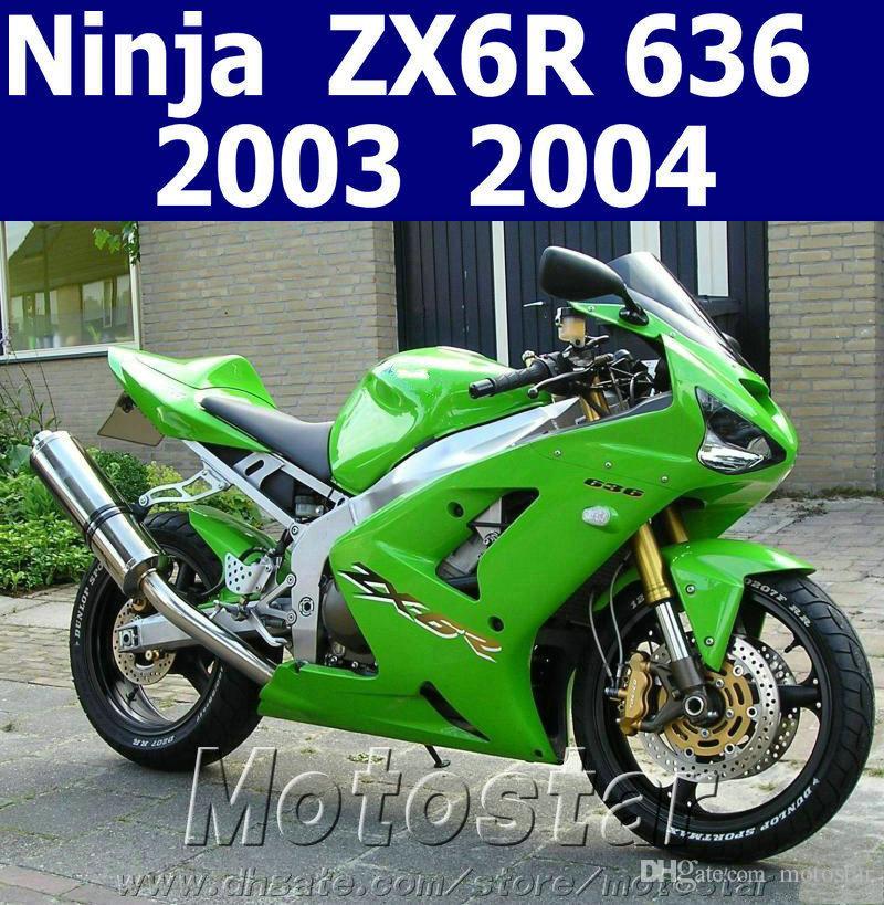 Lowest Price Fairing Body Kit For Kawasaki Ninja Zx 6r 03 04 Green