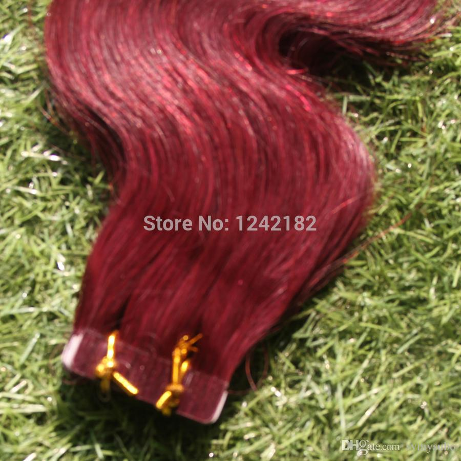 Sexy Beauty Skin Weft PU Tape Hair Extension Brazilian Body Wave Virgin Hair Tape In Human Hair Extensions red hair Clips