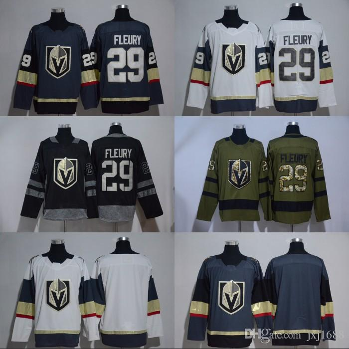 e7a68eb75 2017-18 New Style 29 Marc-Andre Fleury Jersey Sale Vegas Golden Knights Ice  Hockey Jerseys Fleury Sports Uniforms Team Gray Road White
