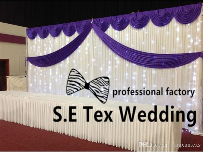 Cheap Price White Color Wedding Backdrop Curtain \ Stage Background Include Top Swag With String Led Lights
