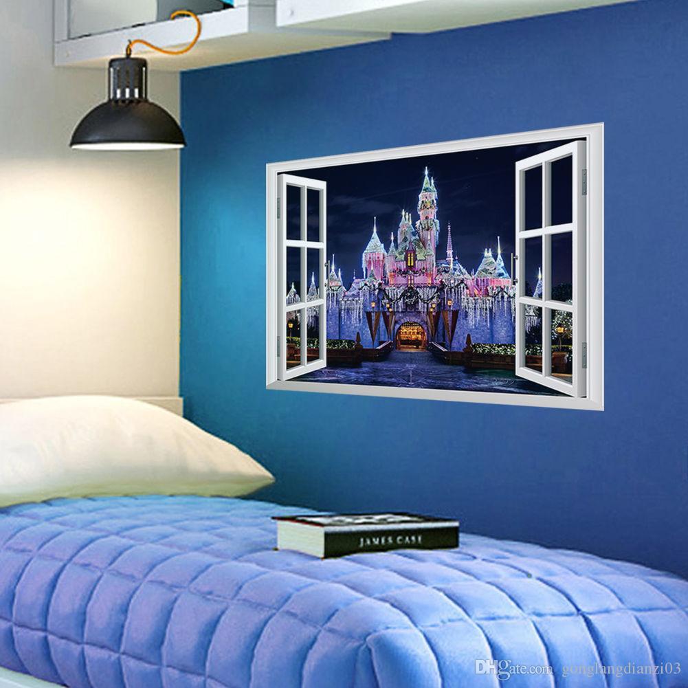 Fantasy Princess Prince Castle D Window View Wall Sticker Decal - 3d window wall decals