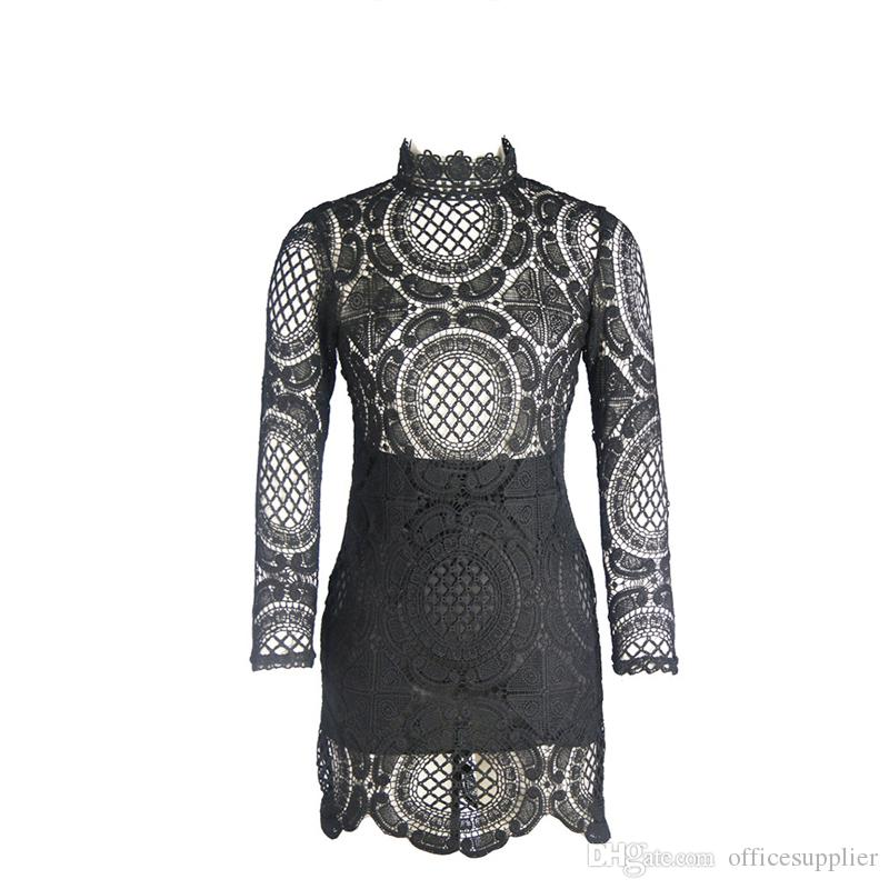 Vestido de encaje hueco 2016 blanco / negro bordado floral Celebrity Bodycon vendaje vestido de manga larga delgado Sexy Club Vestidos