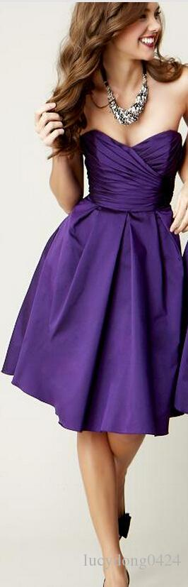 Cheap Simple Dark Purple One Shoulder Sleeveless Short Bridesmaid Dress Satin Corset Knee Length Zipper Elegant Wedding Party Dresses Gown