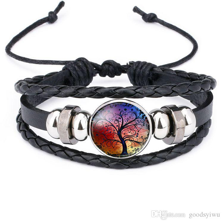 12 colors Tree of Life Snap Button Bracelet Multilayers Leather Braided Punk Friendship Bracelet Women Girls Snap Jewelry