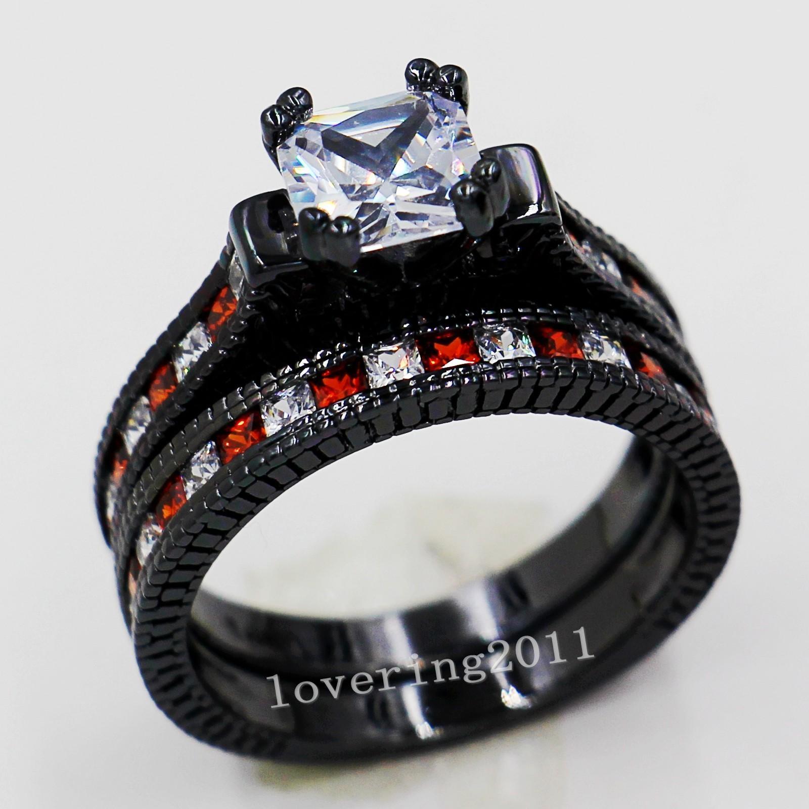 Boyutu 5-11 Retro Moda takı 14kt siyah altın dolgulu Kırmızı Garnet Çok taş CZ Benzetilmiş Elmas kadınlar Düğün Nişan Yüzük seti hediye