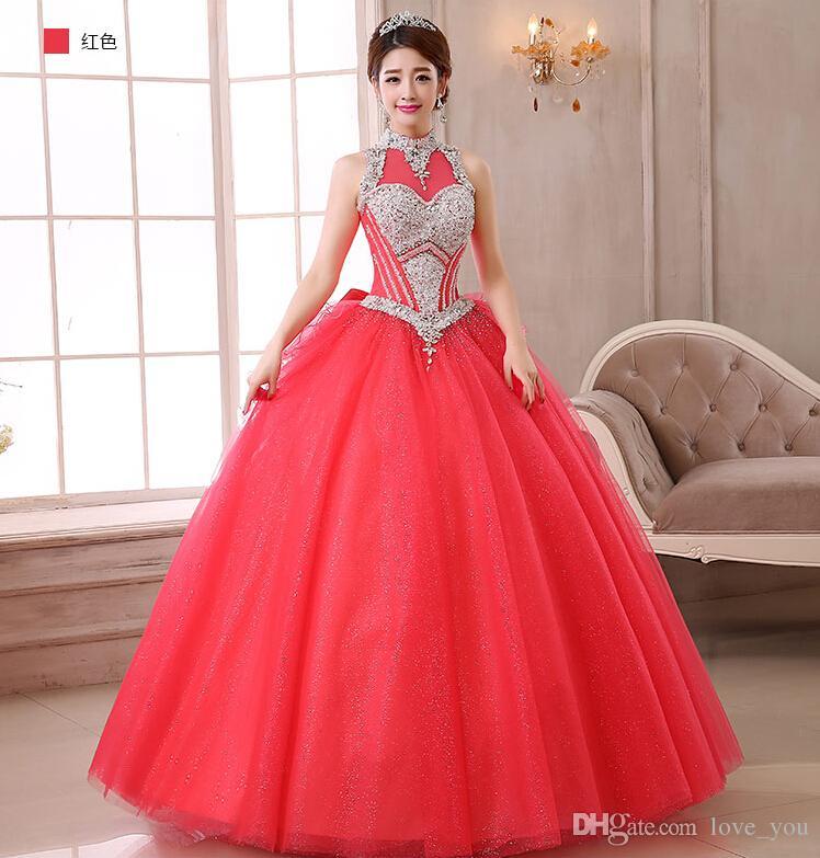 2015 Vintage Günstige Red Quinceanera Kleider Halter Perlen Korsett und Tüll Debutante Kleider Für Süße 16 Mädchen Masquerade Ballkleider