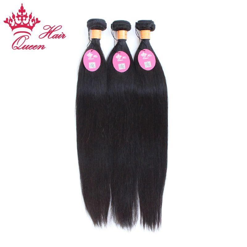 Queen Hair Official Store 100% Indain Virgin Menselijk Haar 5 Stks / partij Natuurlijke Kleur # 1B Straight 8